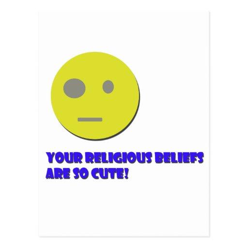 Suas crenças religiosas cartoes postais
