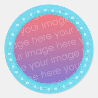 Suas etiquetas da foto, no pontos azuis circundam adesivos redondos