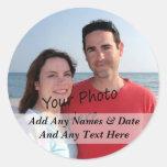 Suas próprias etiquetas da foto e do texto do adesivo em formato redondo