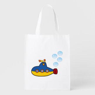 Submarino amarelo e azul do brinquedo com bolhas sacolas ecológicas para supermercado
