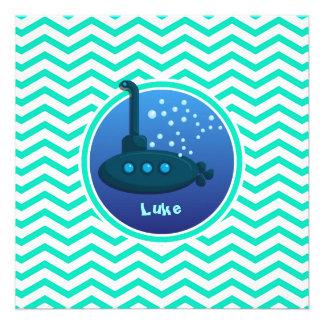 Submarino Aqua Chevron verde Convites