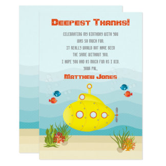 Submarino do amarelo do mar profundo convite 8.89 x 12.7cm