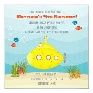 Submarino do amarelo do mar profundo convite quadrado 13.35 x 13.35cm