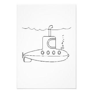 Submarino dos desenhos animados convite personalizados