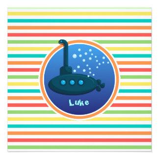 Submarino Listras brilhantes do arco-íris Convites Personalizado