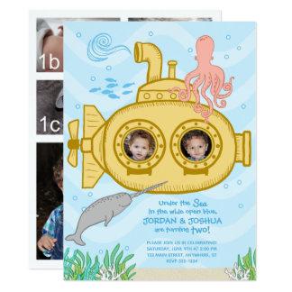 Submarino & mar - convite do segundo aniversário