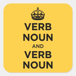Substantivo do verbo e substantivo do verbo - adesivo em forma quadrada