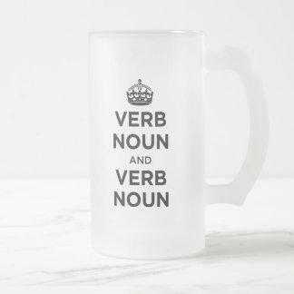 Substantivo do verbo e substantivo do verbo - caneca de vidro fosco