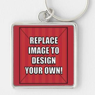 Substitua a imagem para projetar seus próprios! chaveiro quadrado na cor prata