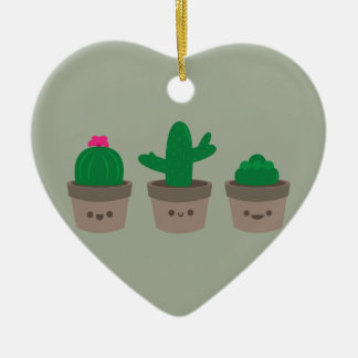 Succulent doce ornamento de cerâmica coração