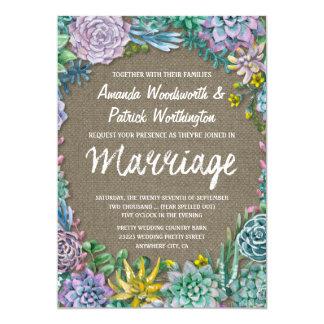 Succulent e convites rústicos do casamento de