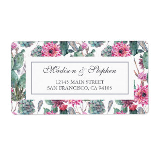 Succulent & floral boémios - casamento etiqueta de frete