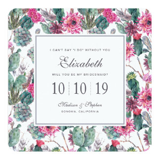 Succulent & floral boémios - dama de honra convite quadrado 13.35 x 13.35cm