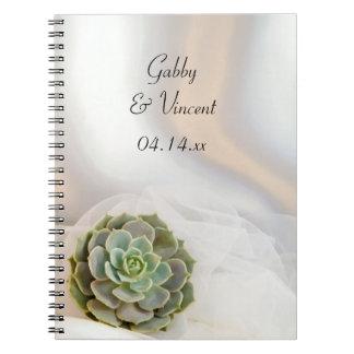Succulent verde no casamento branco caderno espiral