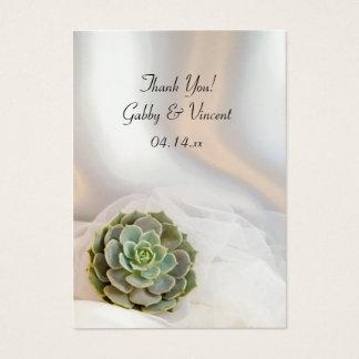 Succulent verde nos Tag brancos do favor do Cartão De Visitas