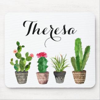 Succulents da aguarela de Boho personalizados Mousepad