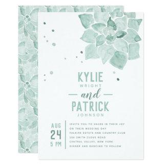 Succulents da aguarela que Wedding o convite