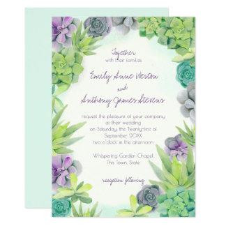 Succulents que Wedding a aguarela Convite 12.7 X 17.78cm