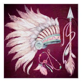 Sudoeste da seta da mantilha do nativo americano poster perfeito