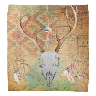 Sudoeste do nativo americano dos Antlers do crânio Panos Para Cabeça