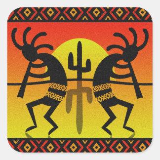Sudoeste Kokopelli do cacto de Sun do deserto Adesivo Quadrado