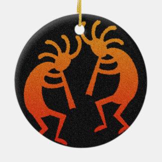 Sudoeste Kokopelli Ornamento De Cerâmica Redondo