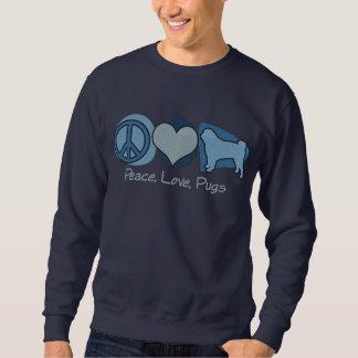 Suéter Bordado A paz, amor, os Pugs bordou a camisola (azul)