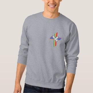 Suéter Bordado Cruz da paz com pomba e arco-íris