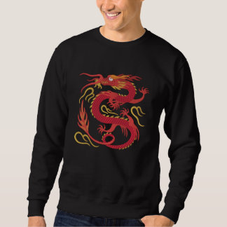 Suéter Bordado Dragão chinês do fogo