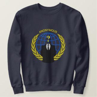 Suéter Bordado Grande bordado do símbolo anónimo legal do
