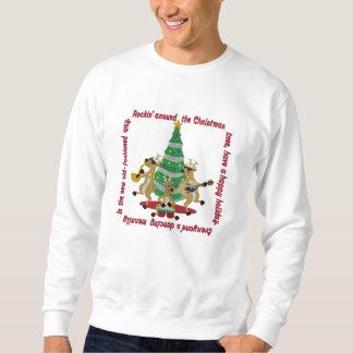 Suéter Bordado Rockin em torno da árvore de Natal