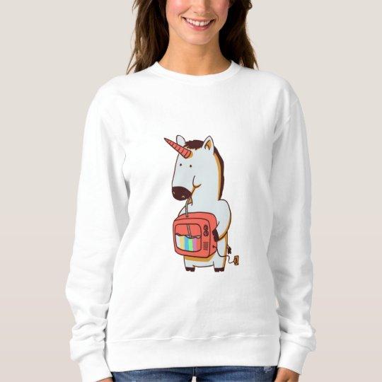 Suéter feminino, Branco, Unicornio