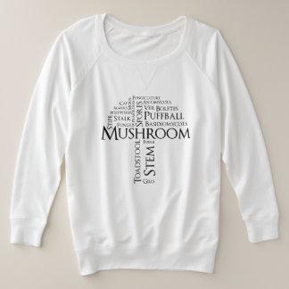 Suéter Plus Size Cogumelo da palavra mais a camisola do tamanho