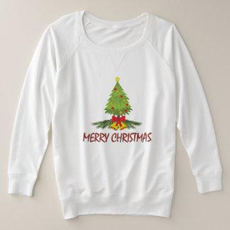 Suéter Plus Size Feliz Natal da árvore de Natal