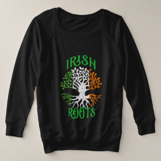Suéter Plus Size O irlandês enraíza a bandeira da árvore da herança
