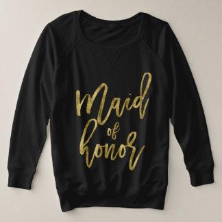Suéter Plus Size Ouro do falso da madrinha de casamento mais o