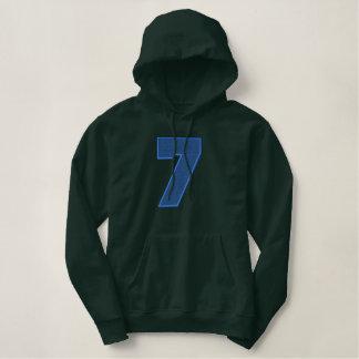 Suficiência clara do número 7 moletom bordado com capuz