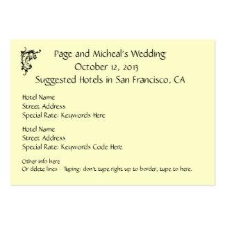Sugestão da reserva de hotel do convite do casamen modelo cartões de visitas