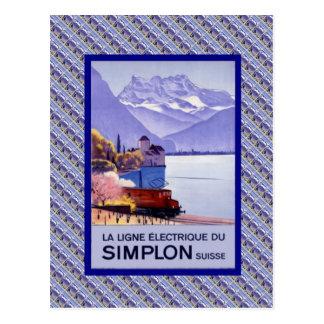 Suiça do vintage, estrada de ferro elétrica de cartão postal