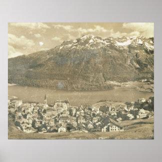Suiça do vintage, St Moritz e lago 1906 Poster