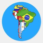 Sul - bandeiras americanas do mapa de Ámérica do Adesivo