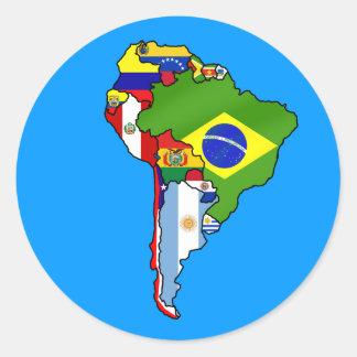 Sul - bandeiras americanas do mapa de Ámérica do Adesivo Em Formato Redondo