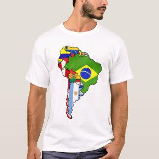 Sul - bandeiras americanas do mapa de Ámérica do Camiseta
