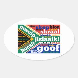 Sul - calão e linguagens cotidianas africanos adesivo oval
