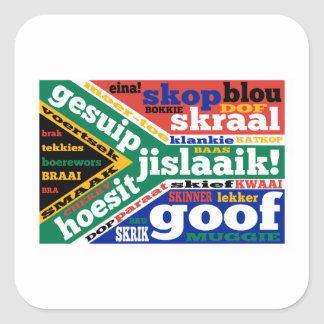Sul - calão e linguagens cotidianas africanos adesivos quadrados