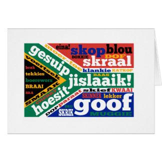 Sul - calão e linguagens cotidianas africanos cartão comemorativo