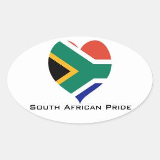 Sul - coração africano do orgulho adesivo oval