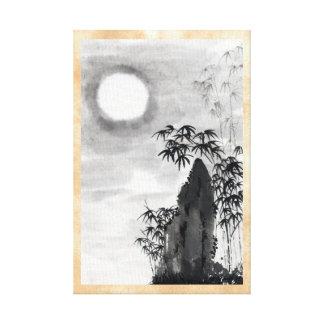 Sumi-e japonês do cenário da lua da noite do vinta