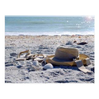 Sun, areia, praia, férias cartão postal