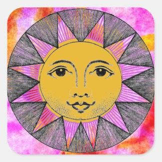 Sun de sorriso adesivo quadrado